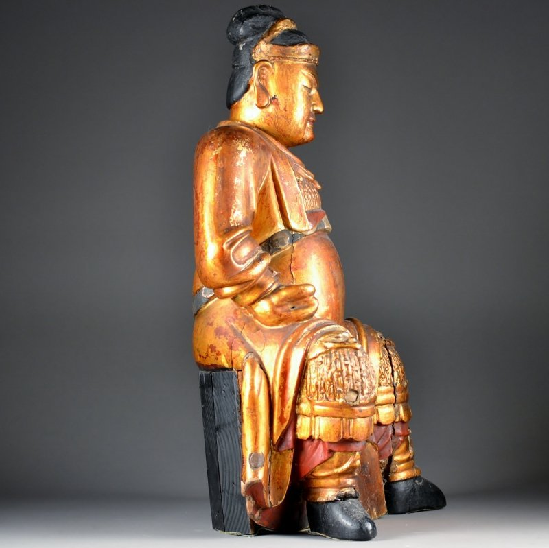 50: Heavily Carved Wooden Seated Figure - 3