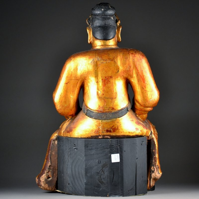 50: Heavily Carved Wooden Seated Figure - 4