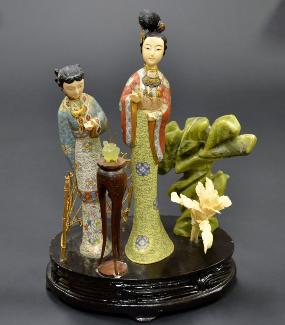 52: Chinese Cloisonne wood and hard stone group two fig