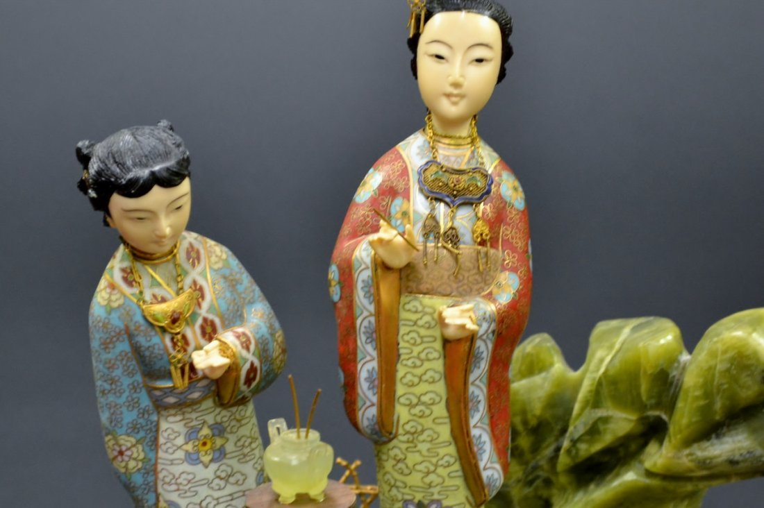 52: Chinese Cloisonne wood and hard stone group two fig - 2