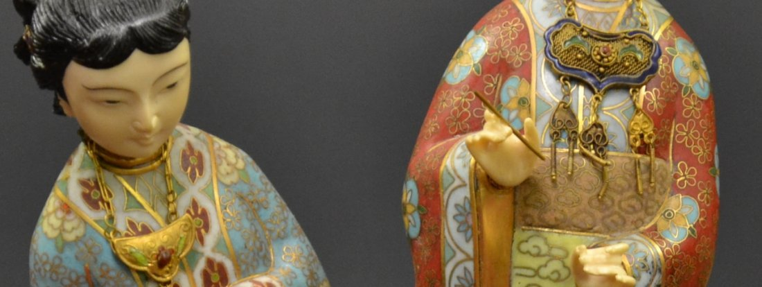 52: Chinese Cloisonne wood and hard stone group two fig - 3