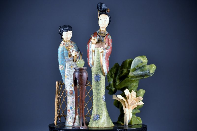 52: Chinese Cloisonne wood and hard stone group two fig - 4