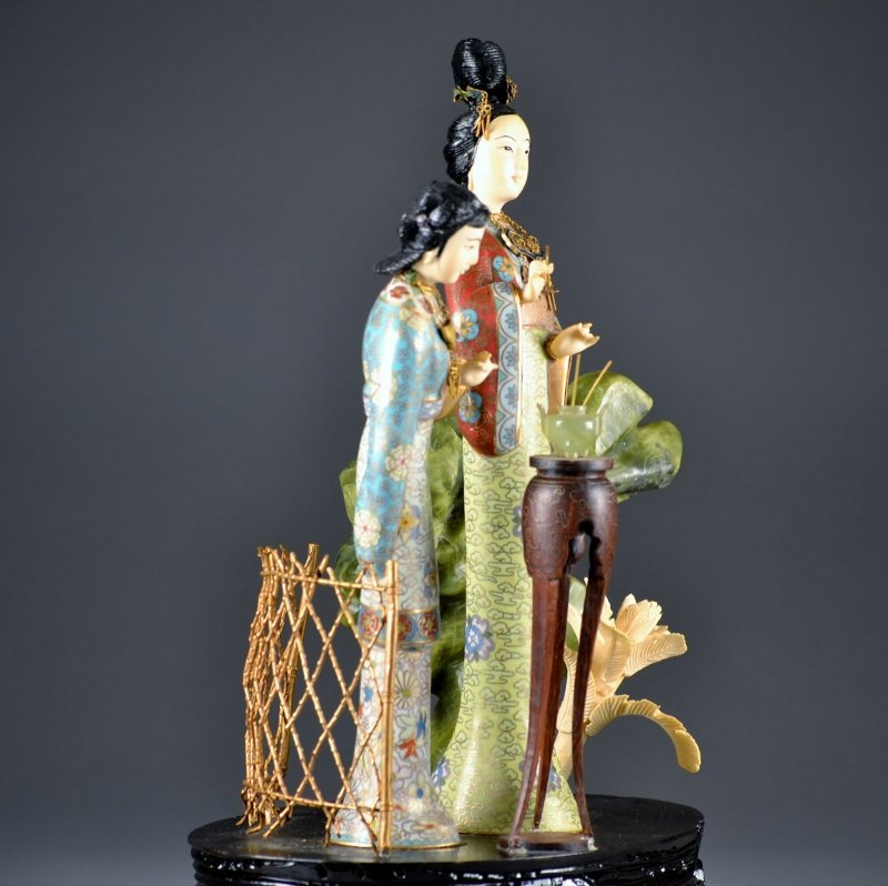 52: Chinese Cloisonne wood and hard stone group two fig - 5