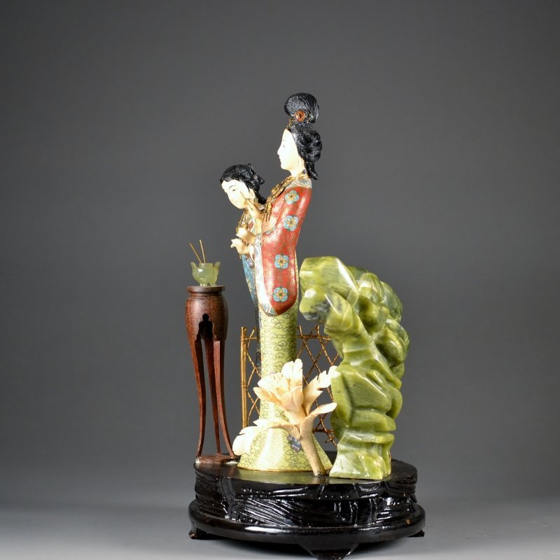 52: Chinese Cloisonne wood and hard stone group two fig - 7
