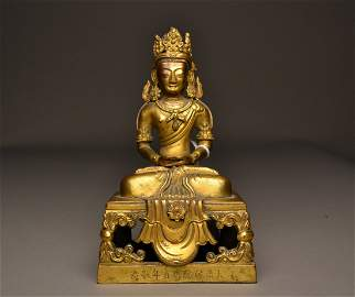 206: Chinese Qian Long  long life bronze and gilt budda