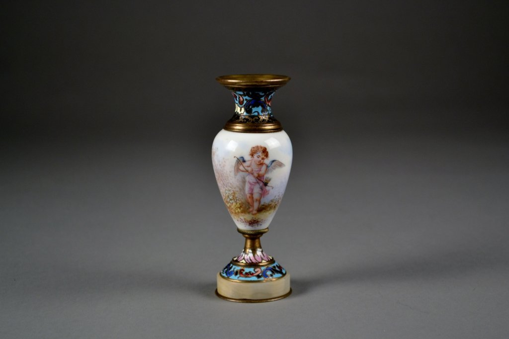 4: French Enamel and Porcelain Vase