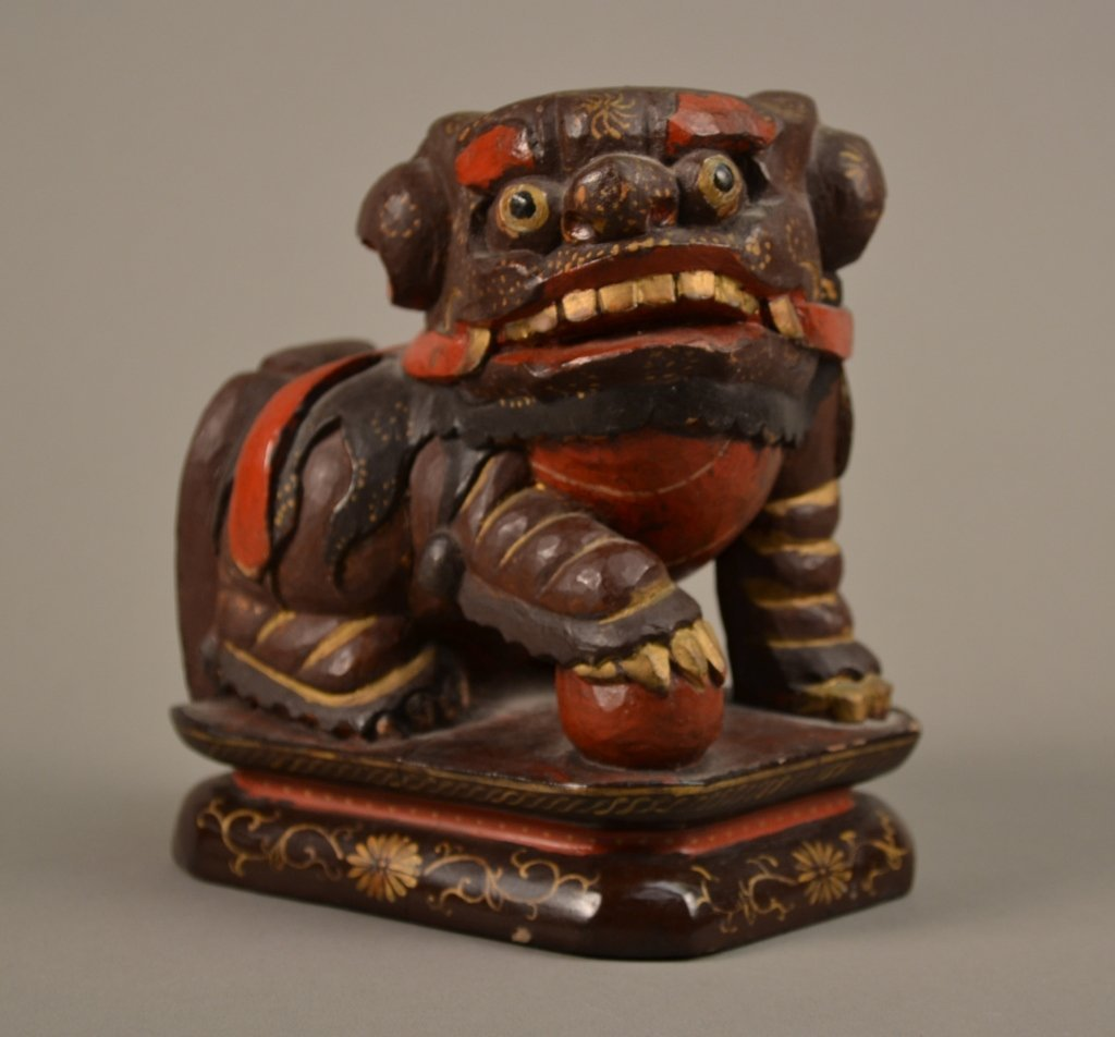 16A: Antique Chinese Carved Wooden Foo Dog