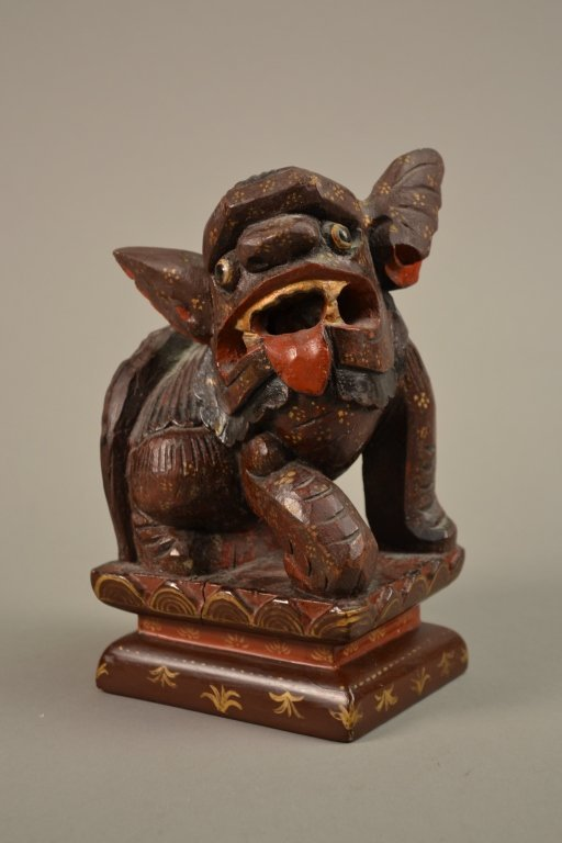 16B: Antique Chinese Carved Wooden Foo Dog