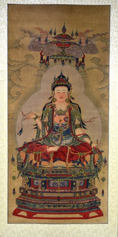 17: Chinese Guan Yin Scroll water color painting