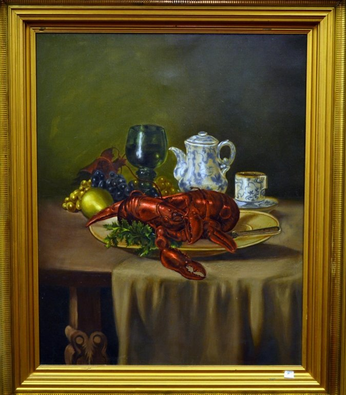 21: Antique Oil Painting, Still life with Lobster