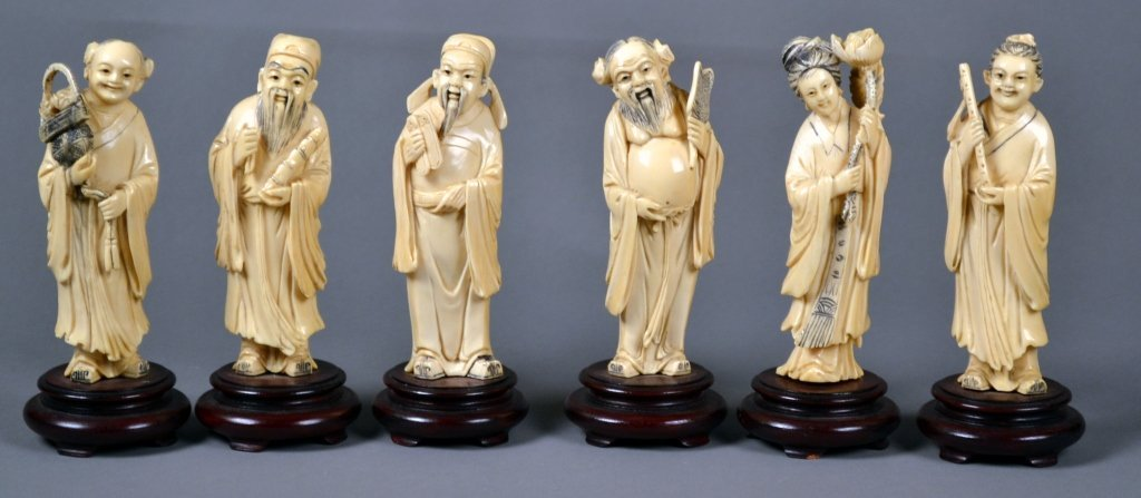 22: Six Antique Ivory Carvings