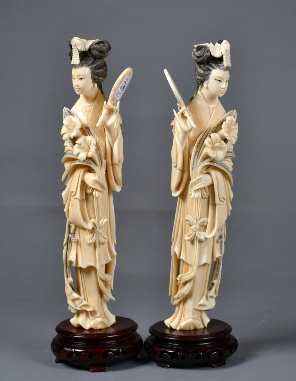 126: Pair of Carved Chinese Ivory Ladies