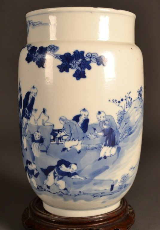 1: 19c. Chinese Blue & White Vase with Stand