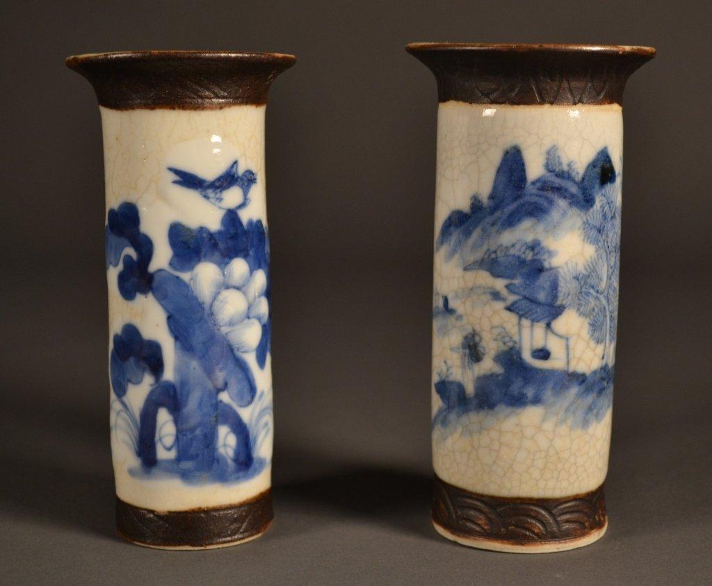 2: Pair 19c Chinese Blue & White Crackle Sleeve Vases