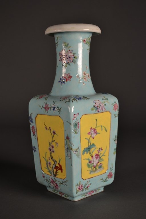 4: Antique Chinese Square Turquoise & Yellow Vase