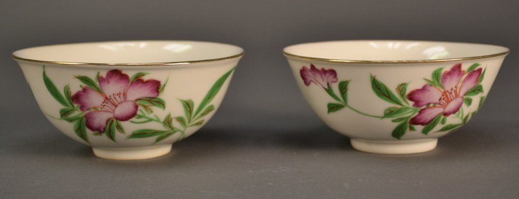 6: Pair Chinese Republic Floral Bowls