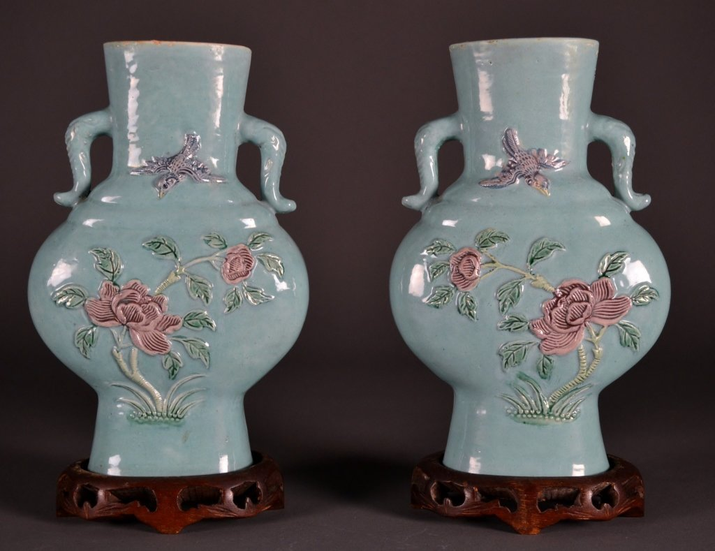 12: Pair 19c. Chinese Turquoise Vases & Stands