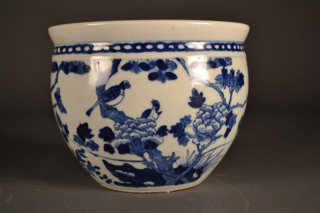 15: 19c. Chinese Blue & White Cache Pot