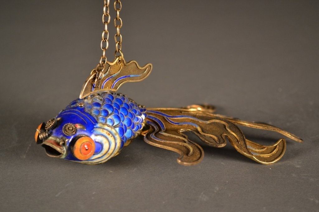 23: Antique Chinese Silver Blue Enamelled Gilted Fish
