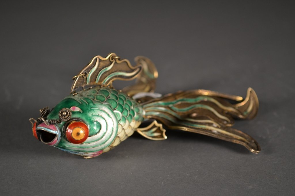 24:Antique Chinese Silver Green Enamelled Gilted Fish