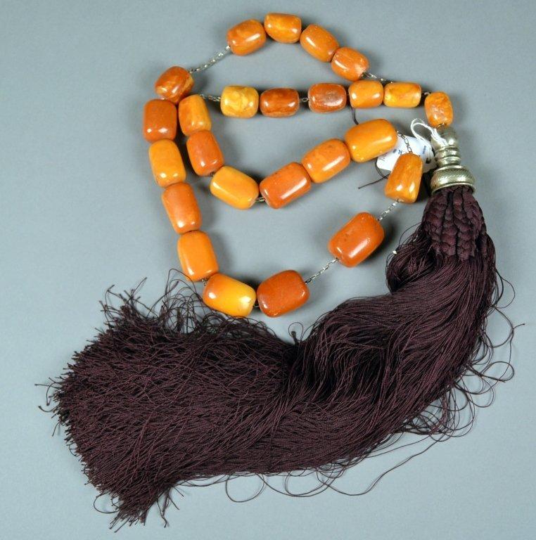 77: Old Natural Amber Greek Komboloi Beads