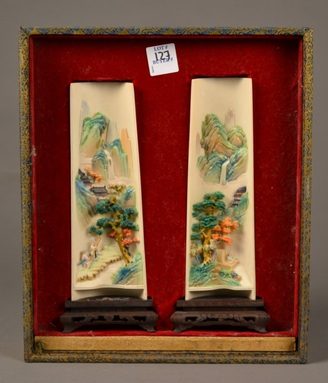 98: Pair Highly Carved Chinese Polychromed Wrist Rests