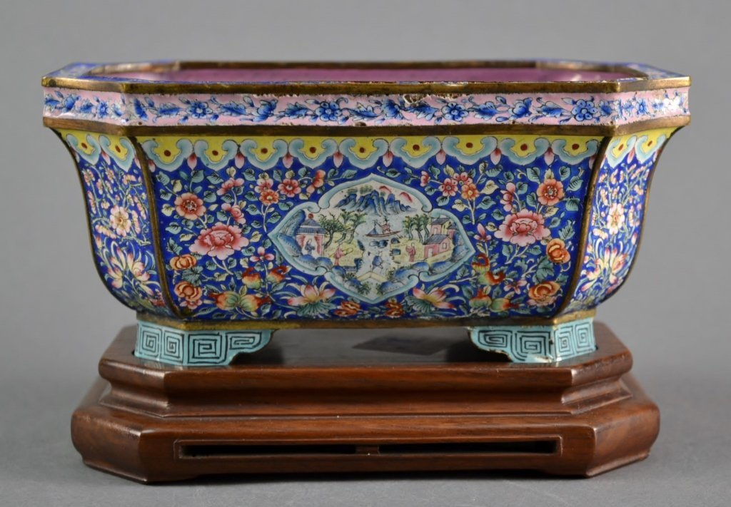 Antique Enamel Planter with Wooden Stand