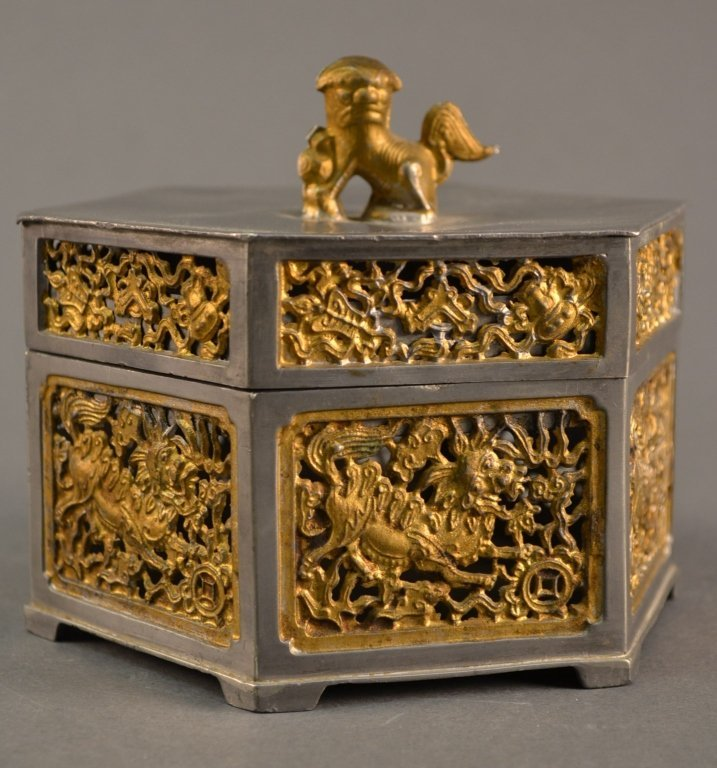 Hexagonal Pewter and Gilt Foo-Dog Box