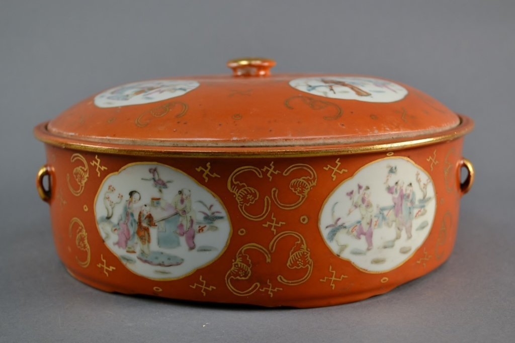 Antique Chinese Coral Ground Porcelain Covered Pot