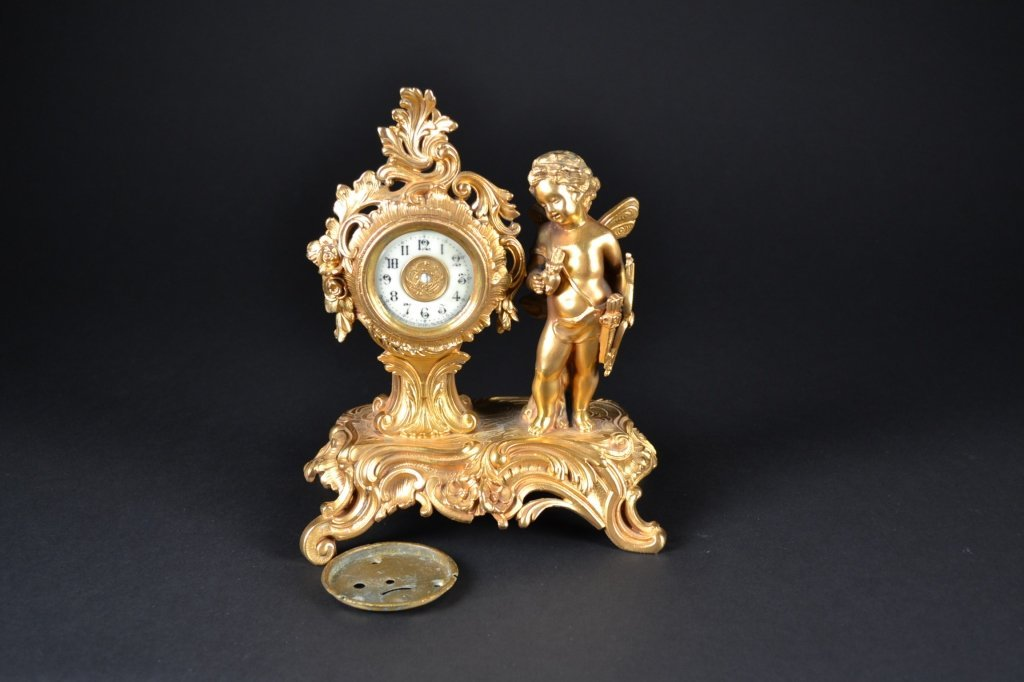 Figural Gilt-Bronze Clock Body with Ansonia Face