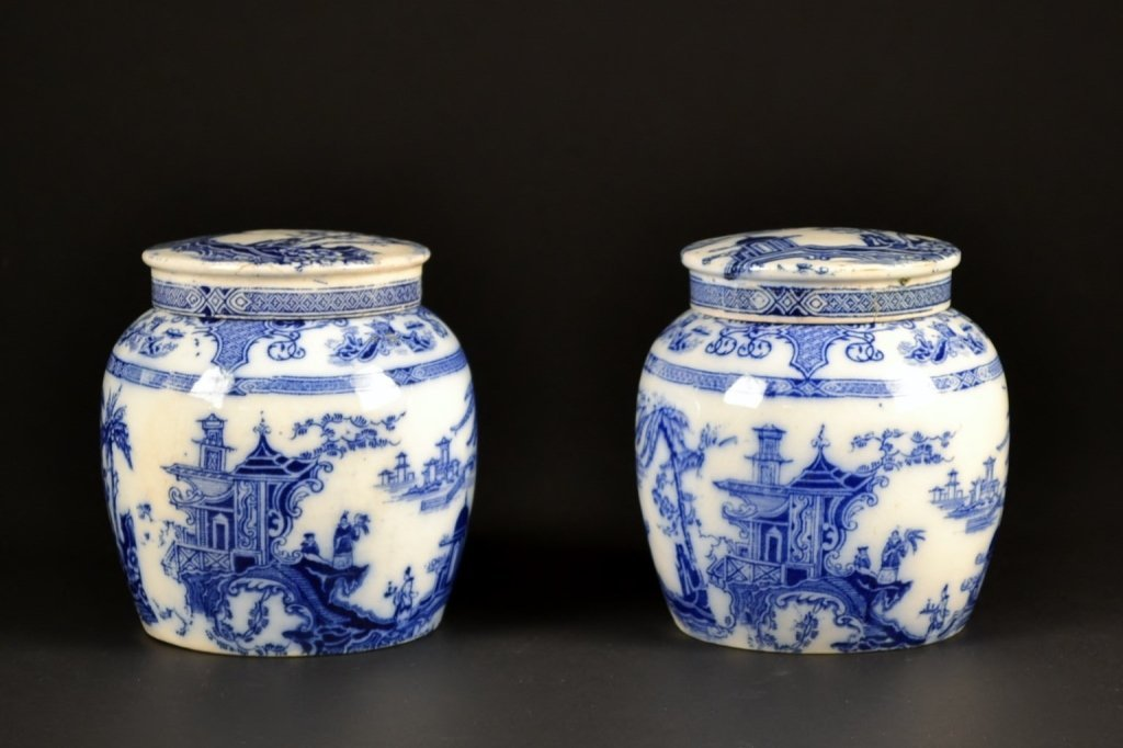 Pair of English Blue & White Covered Jars