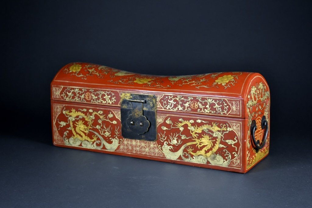 Red Lacquer and Gilt Wood Box