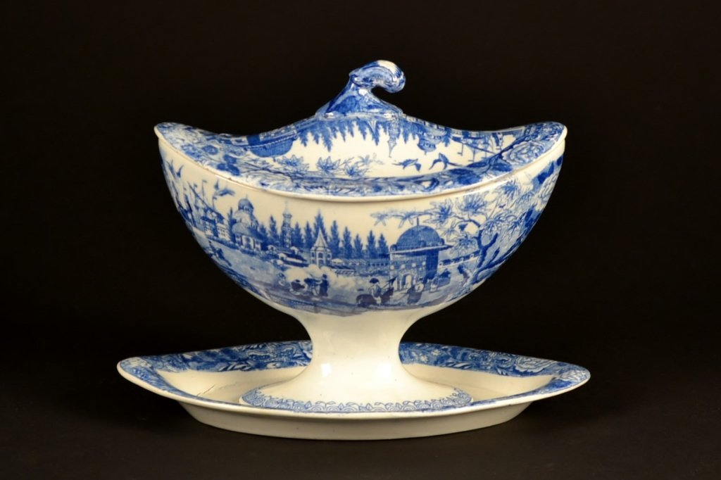 Early English Blue & White Lidded Gravy Boat