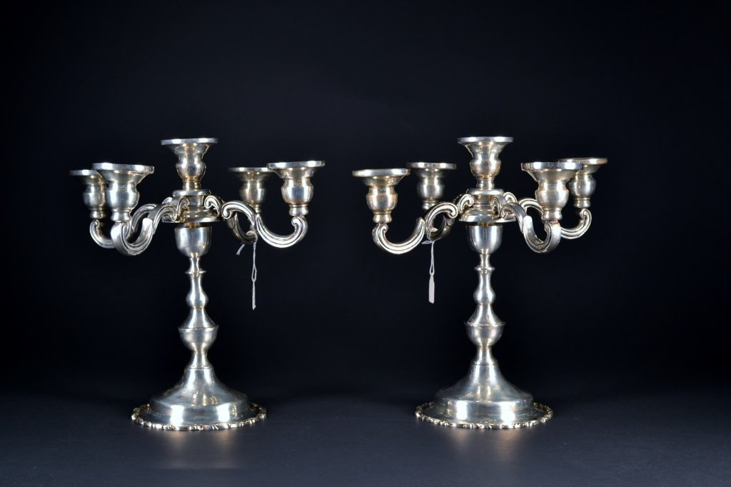 Pair of Sterling Silver 5-Arm Candelabra