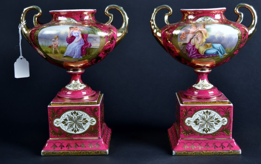 Pair of Red Royal Vienna Urn Shaped Vases Pair of Red R