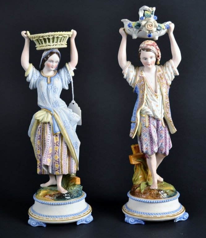 Pair of Bisque Figurines Pair of Bisque Figurines. Size