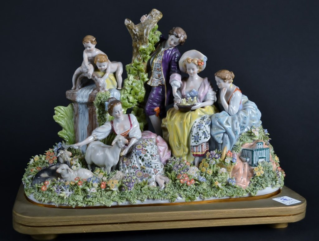 "Large Kister Porcelain Grouping Entitled ""Summertime in"