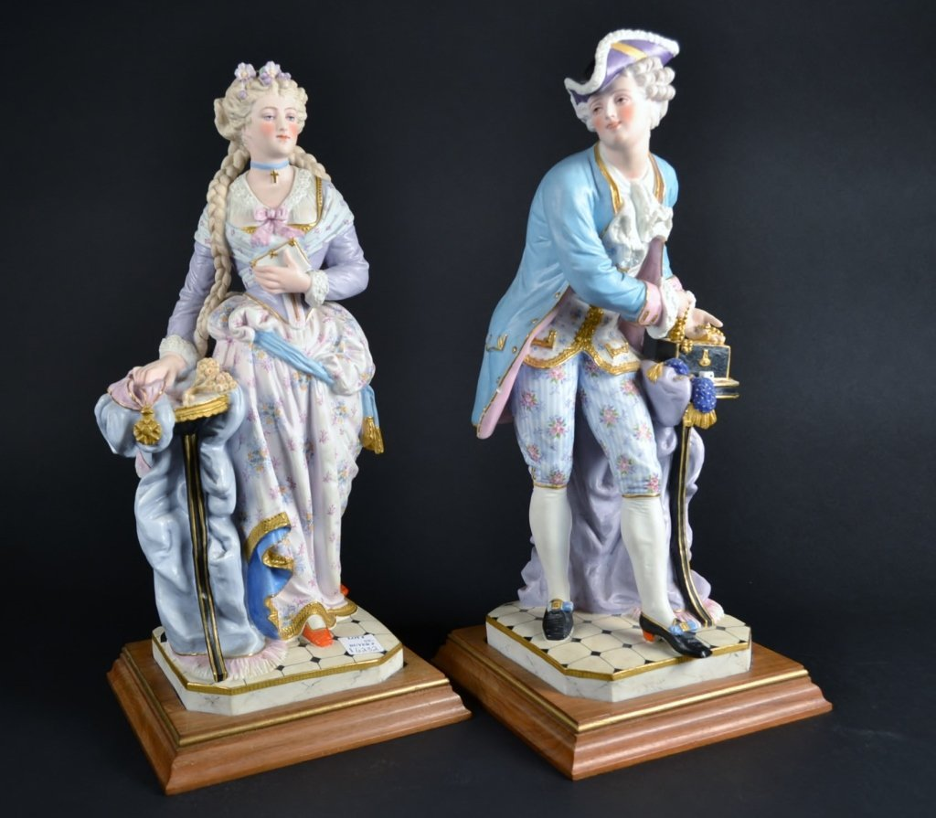 Pair of Bisque Figurines on Stands Pair of Bisque Figur