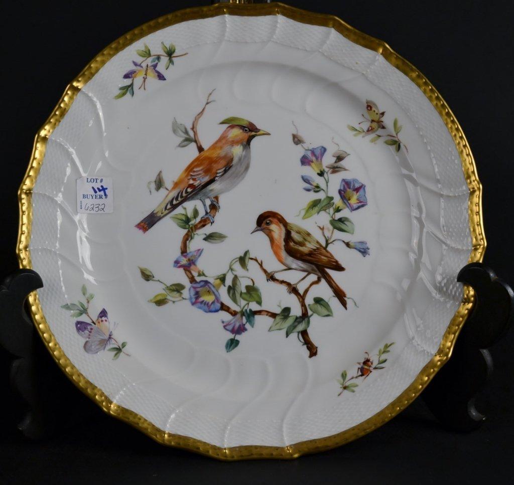 Fine Gilded KPM Plate, Bird Fine Gilded KPM Plate, Bird