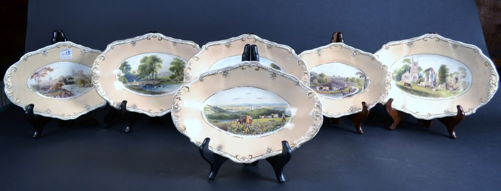 Set of 6 Porcelain Spode Oval Plates, 19c. Set of 6 Por