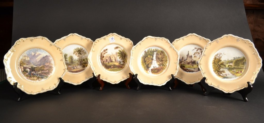 Set of 6 Hand Painted Spode Plates, 19c. Set of 6 Hand-