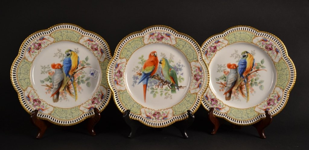Grouping of 3 Bavarian Reticulated Bird Plates Grouping