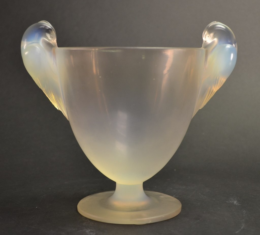 R. Lalique France Opaline Glass Urn Vase Early R. Laliq