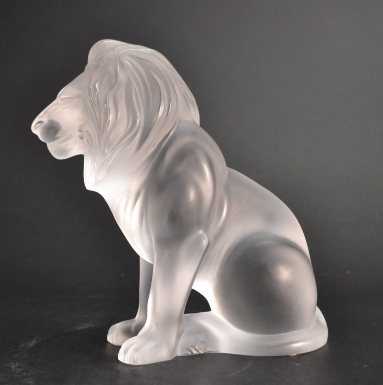 Lalique Glass Sculpture of Lion Lalique Glass Sculpture
