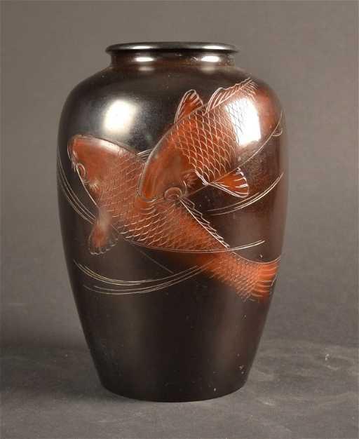 Signed Japanese Bronze Vase With Koi Signed Japanese Br