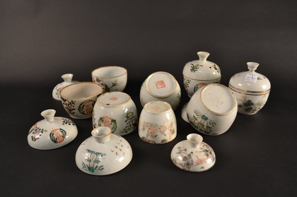 Collection of 8 Chinese polychrome enamelled rice  bowl