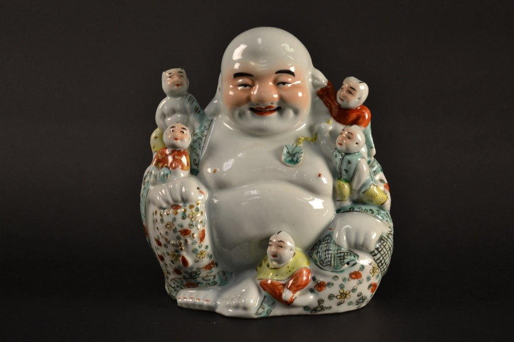 Chinese famille verte/rose Happy Buddha with  children.