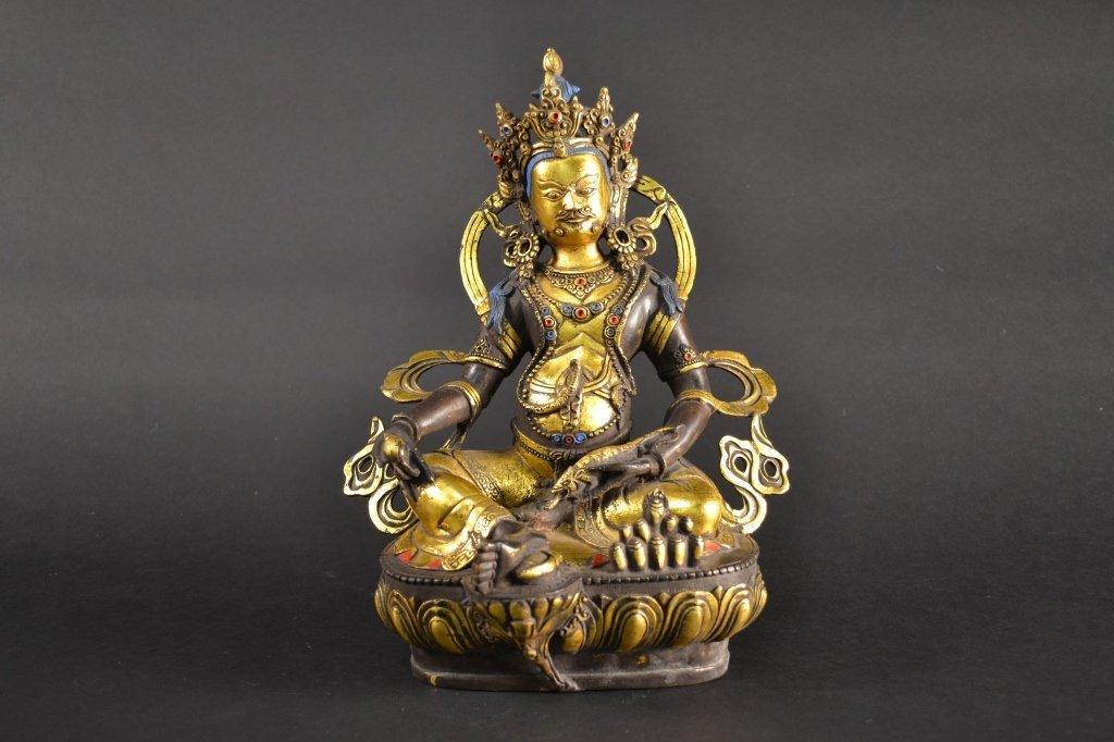 """Chinese Gilt Bronze Buddha.  12"""" tall."""