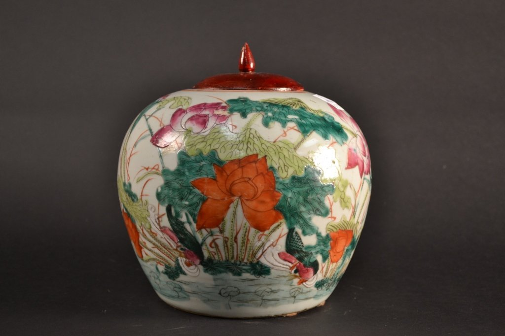 """Chinese ginger jar decorated with lillies 9"""" tall"""