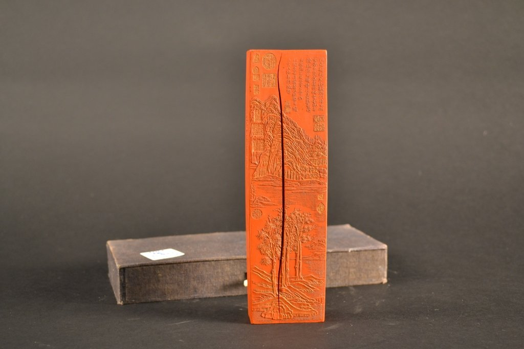Chinese iron red ink stone finely detailed with  mounta